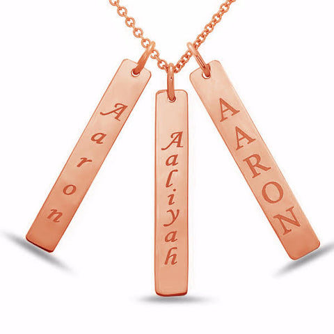 3 14kt Rose Gold Personalized Name Bar