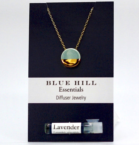 Gold-Dipped Lake Blue Round Essential Oil Necklace