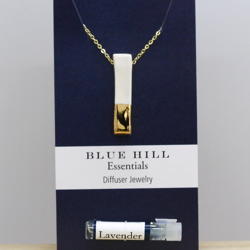 Gold-Dipped White Bar Essential Oil Necklace