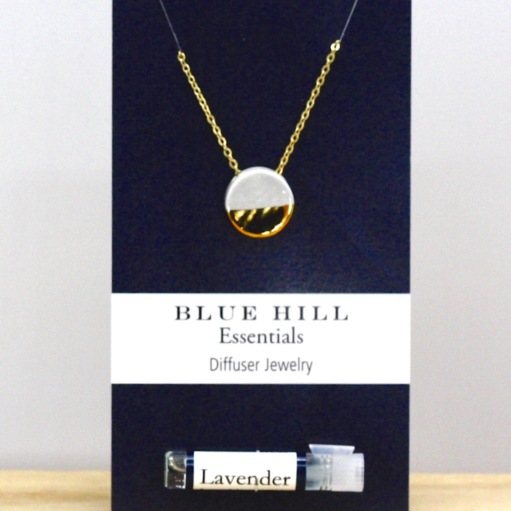 Gold-Dipped Gray Round Essential Oil Necklace