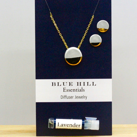 Gift Set Gold-Dipped Gray Round Essential Oil Necklace and Earrings