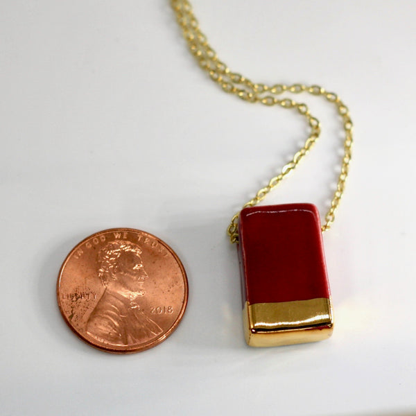 Gold-Dipped Raspberry Rectangle Essential Oil Diffuser Necklace
