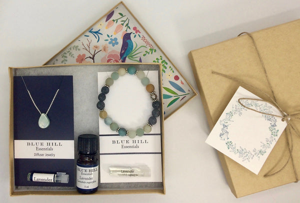 Aromatherapy Gift Set with Ceramic Necklace with Chain