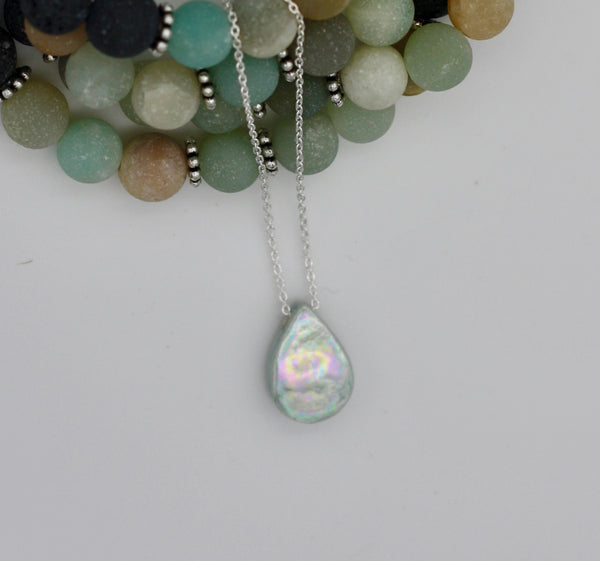 Iridescent Raindrop Essential Oil Necklace