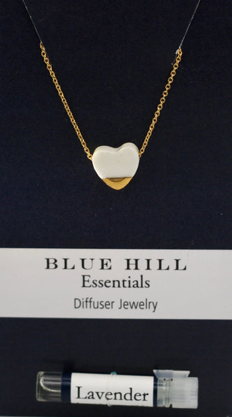 White Gold-Dipped Heart Essential Oil Necklace