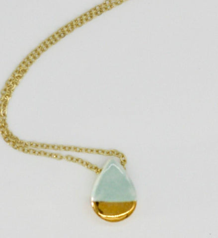Gold-Dipped Lake Blue Teardrop Essential Oil Necklace