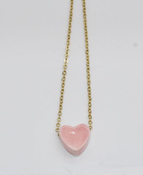 Tiny Pink Heart Essential Oil Necklace