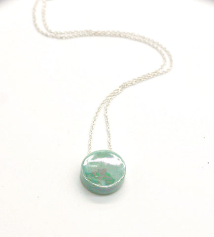 Dainty Round Lake Blue Iridescent Essential Oil Necklace