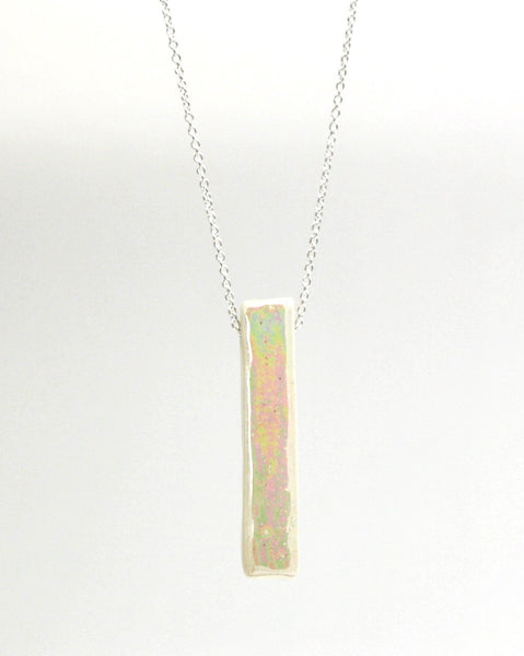 Iridescent White Bar Essential Oil Necklace