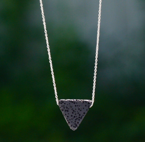 Lava Stone Triangle Essential Oil Diffuser Necklace