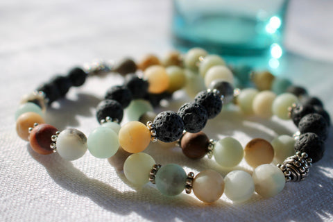 Lava Stone and Amazonite Essential Oil Bracelet with Free Lavender Essential Oil
