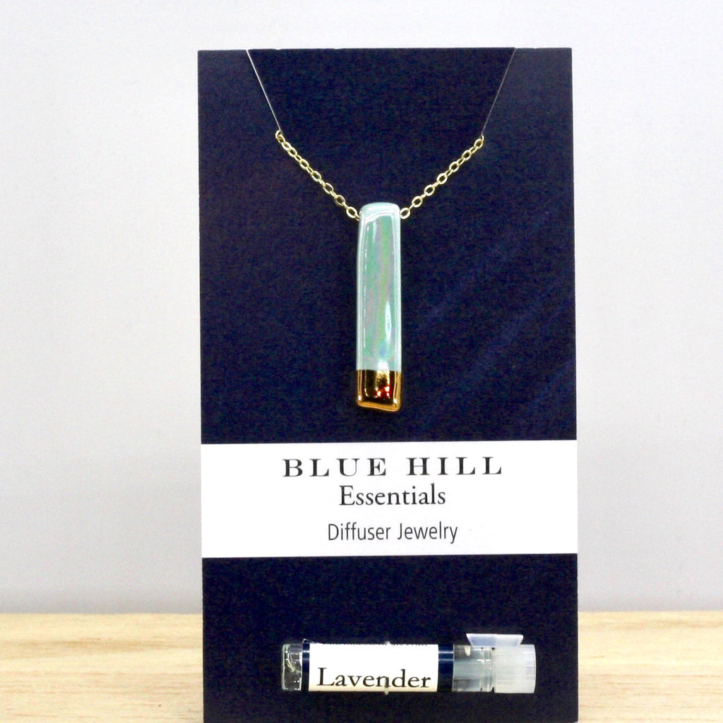 Gold-Dipped Iridescent Lake Blue Bar Essential Oil Necklace