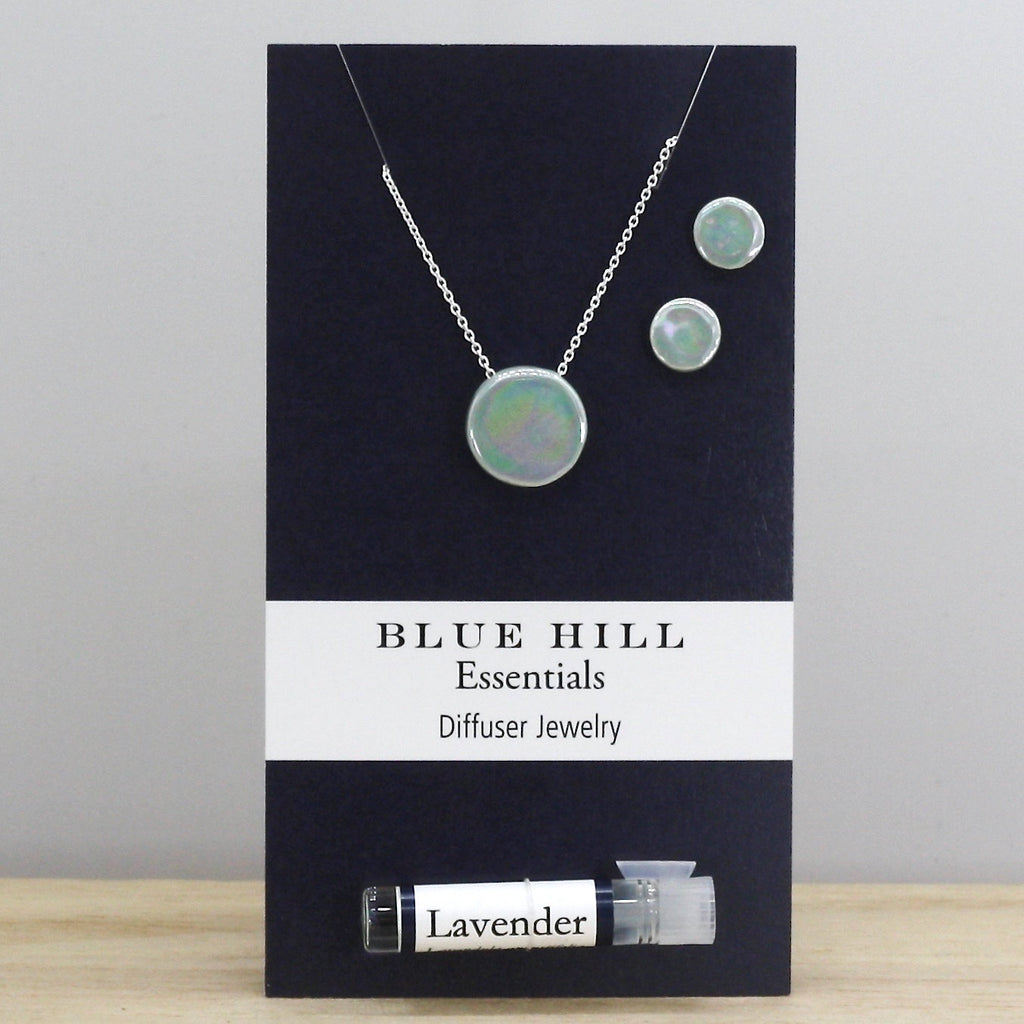 Iridescent Lake Round Essential Oil Diffuser Necklace with Earrings Gift Set