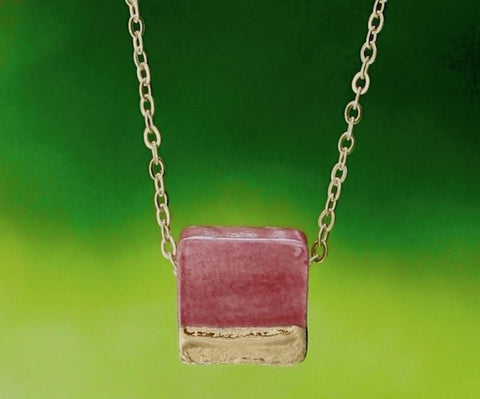 Gold-Dipped Raspberry Square Essential Oil Diffuser Necklace