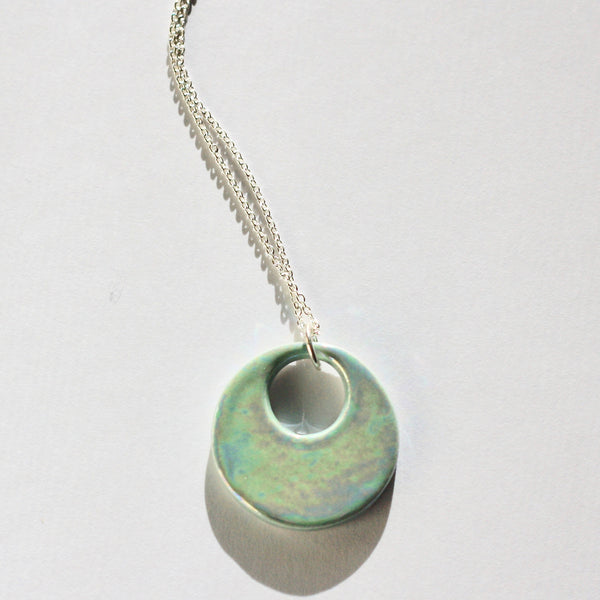 Iridescent Lake Blue Hoop Essential Oil Necklace