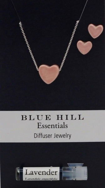 Pink Tiny Hearts Essential Oil Necklace and Earrings Set