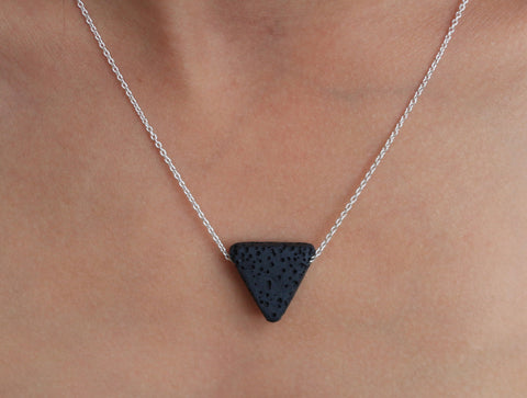 Lava Stone Triangle Essential Oil Necklace