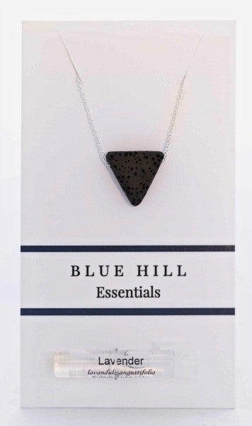 Lava Stone Triangle Essential Oil Necklace comes with lavender essential oil