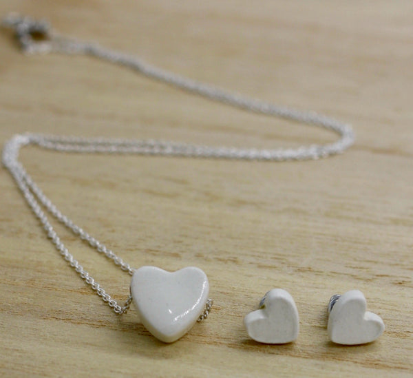 White Tiny Hearts Essential Oil Necklace and Earrings Set
