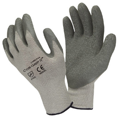 Cor-Grip, Cotton/Polyester String Knit, Gray Crinkle Latex Palm Coat, 10 Gauge - 3895 - Dozen