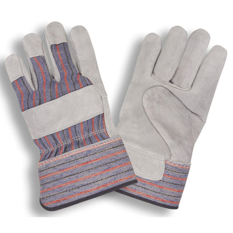 "Shoulder Split Leather Palm, Striped Canvas Back, Gunn Pattern, 2.5"" Safety Cuff - 7205R - Dozen"