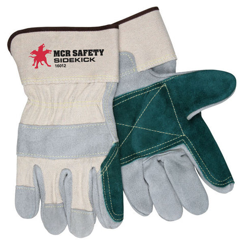 "Sidekick, Double Select Side Leather Palm, Canvas Back, 2.5"" Safety Cuff - 16012 - Dozen"