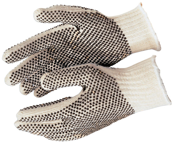 Cotton/Polyester String Knit Glove, Double Sided PVC Dots - 9660 - Dozen