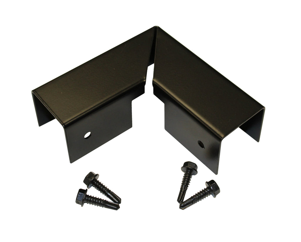 Sante Fe and Mesa Black Steel Post and Rail Corner Cap with Screws
