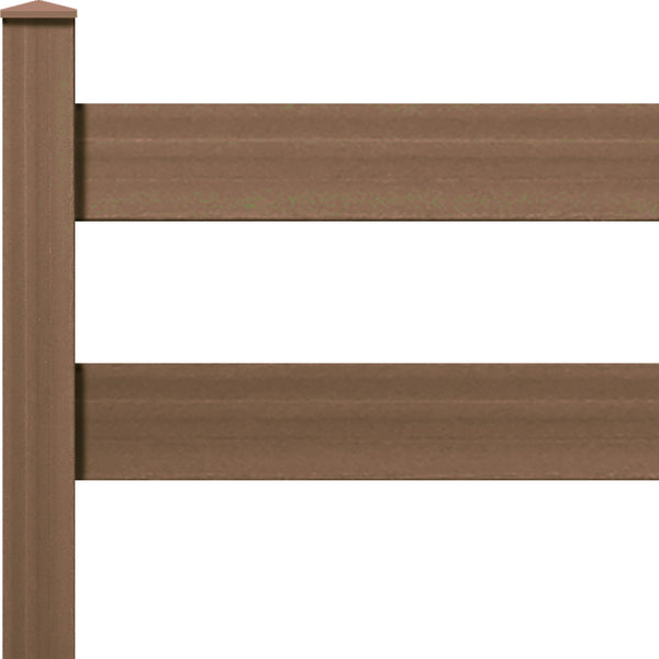 "Ranch Rail Frontier Two Rail with 1"" x 6"" Solid Rail on 5ft Post with Hardware. Available in 4 color options."