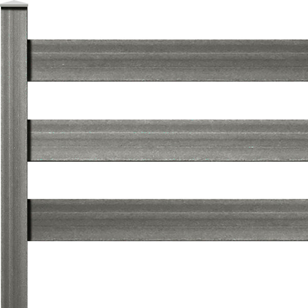 "Ranch Rail Frontier Three Rail with 1"" x 6"" Solid Rail on 6ft Post with Hardware. Available in 4 color options."