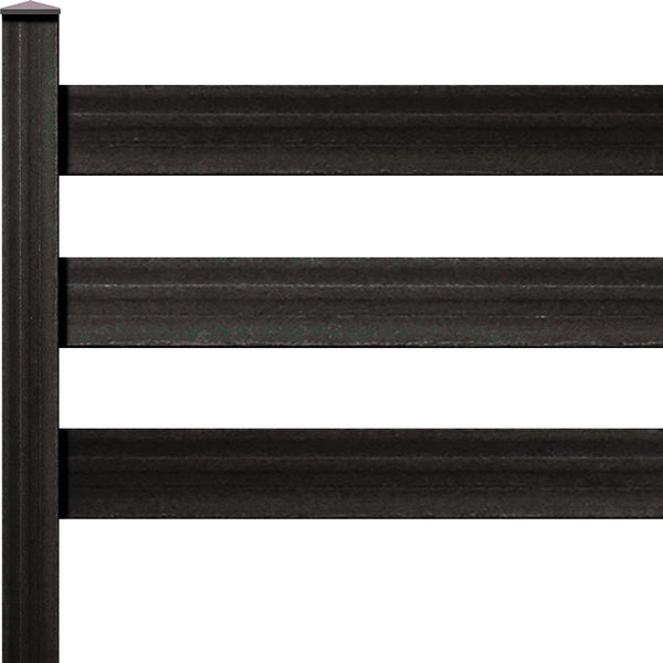 "Ranch Rail Frontier Three Rail with 1"" x 6"" Solid Rail on 7ft Post with Hardware. Available in 4 color options."