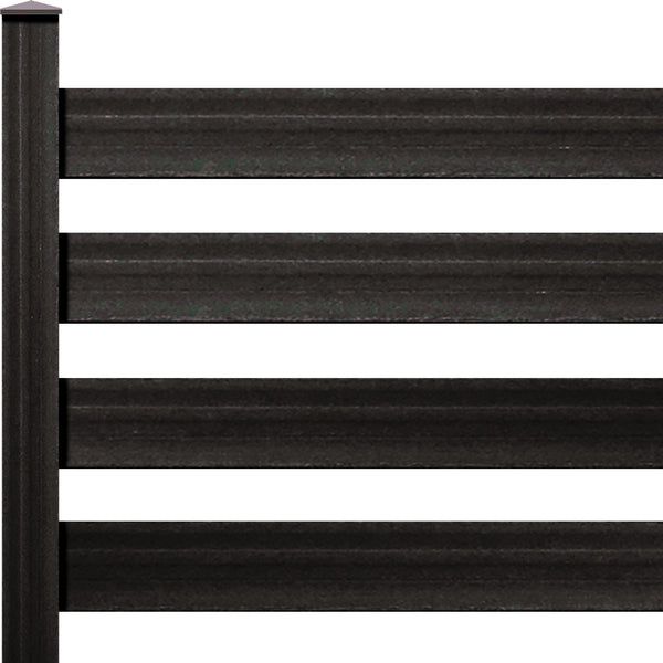 "Ranch Rail Frontier Four Rail with 1"" x 6"" Solid Rail on 7ft Post with Hardware. Available in 4 color options."
