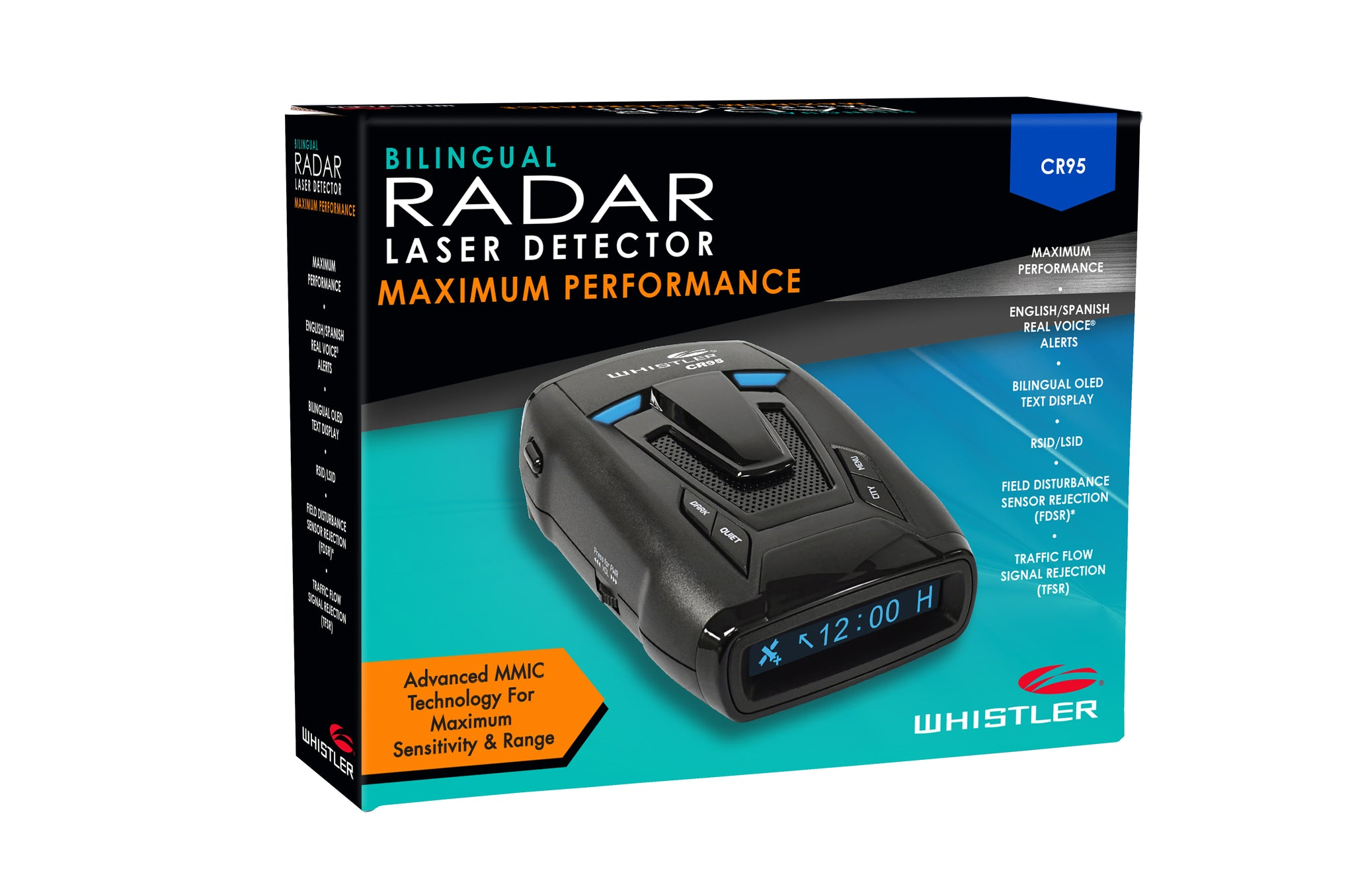 Whistler CR95 Maximum Performance Laser Radar Detector Bilingual Voice Alerts and Text Display 360 Degree Protection