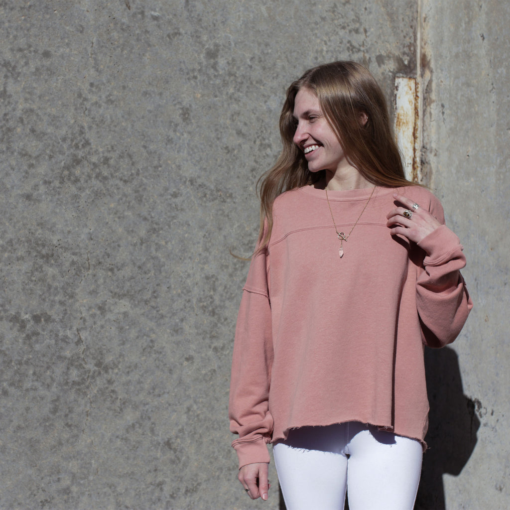 Dusty Pink Hemp Cut Off Sweat Shirt