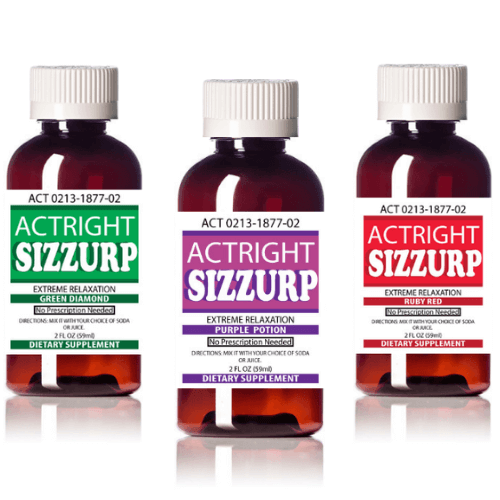 Actright Sizzurp (2oz Bundle) Purple, Red & Green Relaxation Syrups
