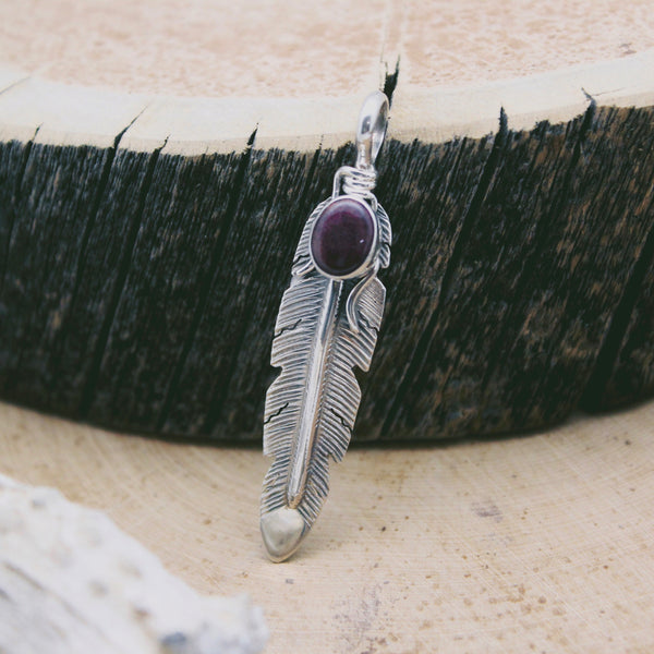 Spiny Oyster Shell Feather Pendant