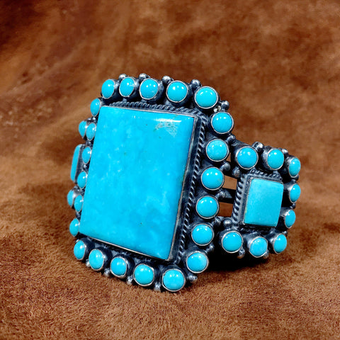 Garnet & Turquoise Leather Cuff Bracelet