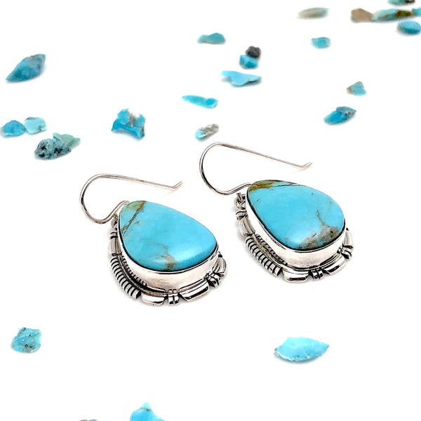 Native American Hand Made Earrings With King's Manassa Turquoise | Native Visions |
