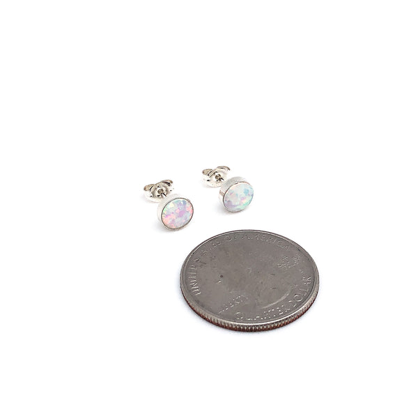 White Opal Stud Earrings 7mm