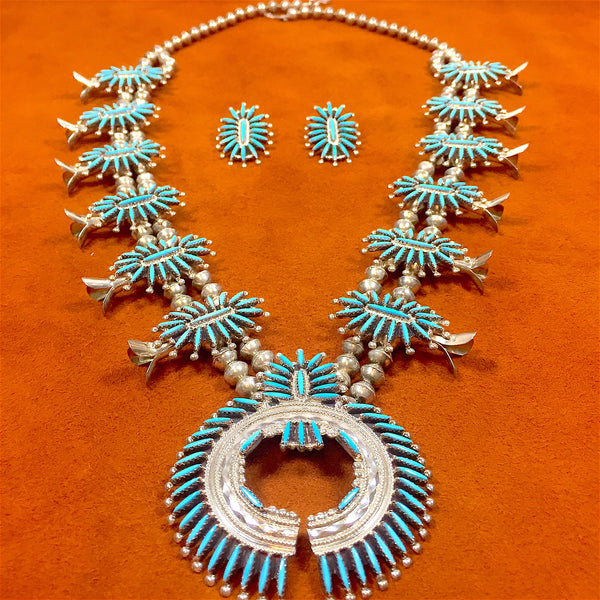 Zuni Squash Blossom and Earring Set