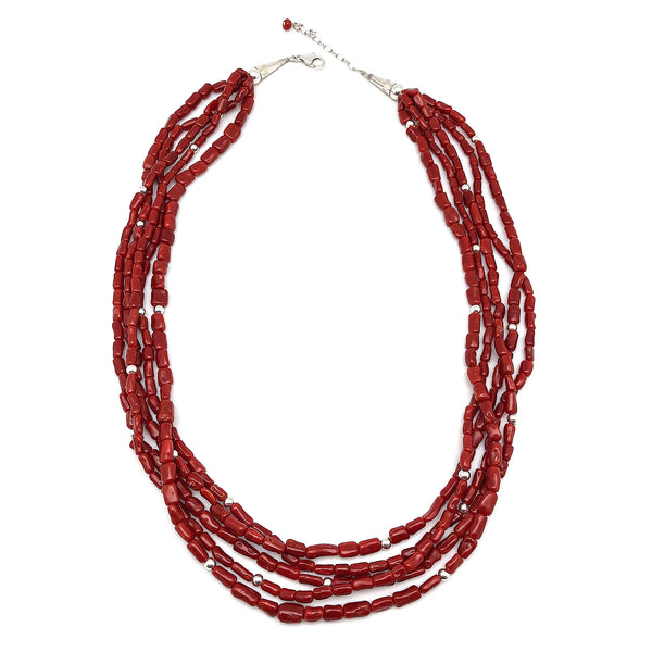 Natural 5 Strand Red Coral Necklace With Silver Pearls