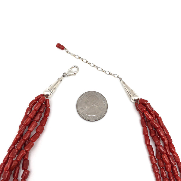 Natural 5 Strand Red Coral Necklace