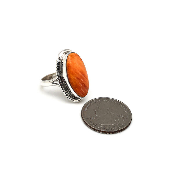 Orange Spiny Oyster Shell Ring Size 9