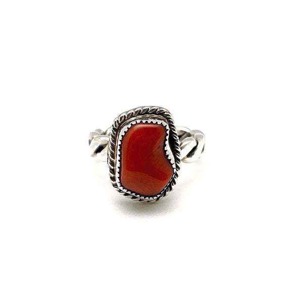 Red Coral Ring Size 5