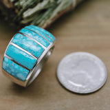 Kingman Web Turquoise Inlay Ring Size 11.5