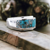 Sonoran Rose Turquoise Inlay Ring Size 10.5