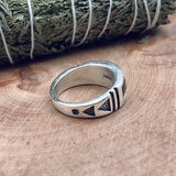 White Buffalo Inlay Ring Size 10