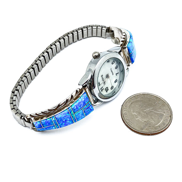Blue Fire Opal Inlay Watch