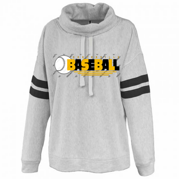 Ladies Cowl neck fleece-Centerville 12u Black Baseball