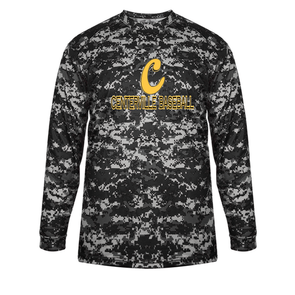 Full Camo long sleeve dri fit tee-Centerville 12u Black Baseball